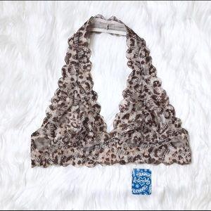 😍 NWT Free People Halter Lace Leopard Bralette